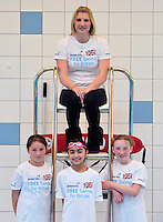 PICTURE BY SIMON WILKINSON/SWPIX.COM - Swimming - British Gas Free Swims for Britain - Nottingham Victoria Leisure Centre, Nottingham, England - 25/04/12 - Great Britain's Rebecca Adlington and students from Fernwood Junior School help launch the British Gas Free Swims for Britain campaign, which is giving away free swimming sessions to those who sign up online to back our swimmers at London 2012.
