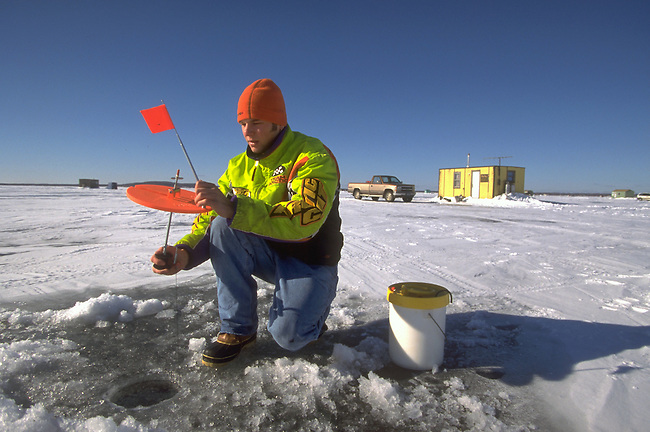 Ice fishing on Lake Mille Lacs in Minnesota.