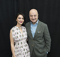 Nazanim Boniadi and Anupam Kher at the Hotel Mumbai press conference in New York City on 17 March 2019. Credit: Magnus Sundholm/Action Press/MediaPunch ***FOR USA ONLY***