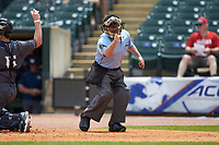 Home plate umpire Danny Collins makes a strike call during the game between the Georgia Tech Yellow Jackets and Miami Hurricanes during game one of the 2017 ACC Baseball Championship at Louisville Slugger Field on May 23, 2017 in Louisville, Kentucky. The Hurricanes walked-off the Yellow Jackets 6-5 in 13 innings. (Brian Westerholt/Four Seam Images)