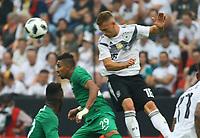 Kopfball Joshua Kimmich (Deutschland, Germany) gegen Salem Al-Dawsari (Saudi-Arabien) - 08.06.2018: Deutschland vs. Saudi-Arabien, Freundschaftsspiel, BayArena Leverkusen