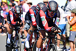 BMC Racing Team in action during Stage 3 of the 2018 Tour de France a Team Time Trial running 35.5km from Cholet to Cholet (35,5km, France. 9th July 2018. <br /> Picture: ASO/Pauline Ballet | Cyclefile<br /> All photos usage must carry mandatory copyright credit (&copy; Cyclefile | ASO/Pauline Ballet)
