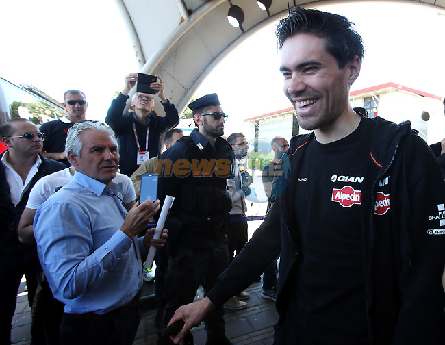 Tom Dumoulin (NED) Team Giant-Alpecin arrives at the airport of Lamezia Terme in the far south of Italy, and then Catanzaro, the start town for Stage 4 tomorrow, The Netherlands. 9th May 2016.<br /> Picture: ANSA/Matteo Bazzi | Newsfile<br /> <br /> <br /> All photos usage must carry mandatory copyright credit (&copy; Newsfile | ANSA/Matteo Bazzi)