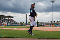 Detroit Tigers first baseman Miguel Cabrera (24) walks to the clubhouse after being substituted for during a Grapefruit League Spring Training game against the New York Yankees on February 27, 2019 at Publix Field at Joker Marchant Stadium in Lakeland, Florida.  Yankees defeated the Tigers 10-4 as the game was called after the sixth inning due to rain.  (Mike Janes/Four Seam Images)