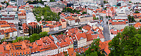 Aerial view of Ljubljana Old Town and Franciscan Church of the Annunciation, seen from Ljubljana Castle, Slovenia, Europe