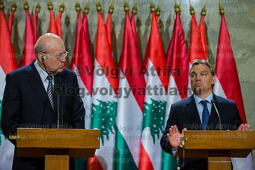 Najib Azmi Mikat (L) prime minister of Lebanon and his counterpart Viktor Orban (R) prime minister of Hungary attend a press conference in Budapest, Hungary on November 06, 2012. ATTILA VOLGYI