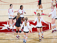 STANFORD, CA - November 4, 2018: Tami Alade, Audriana Fitzmorris, Morgan Hentz, Meghan McClure, Jenna Gray, Kathryn Plummer at Maples Pavilion. No. 2 Stanford Cardinal defeated the Utah Utes 3-0.
