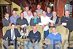 Neil O'Donoghue presents the winner of the Killarney Avenue and Scruffy's fishing society cup to Jimmy Fleming at their awards ceremony in the Killarney Avenue Hotel on Saturday night front row l-r: Neil O'Donoghue, Jimmy Fleming, Gary Fleming. Back row: Batty O'Brien, Liam Buckley, robbie O'Brien, Anthony Griffin, paul Horgan, Con Healy, Tom dennehy, Lawrence O'Callaghan, Jerry Buckley, Dermot O'Mahoney and John Buckley..