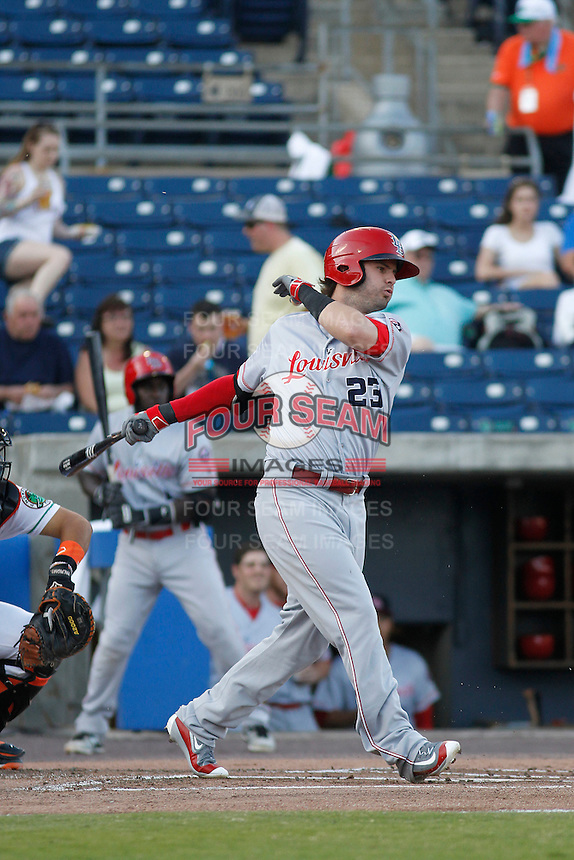 Louisville Bats outfielder Jesse Winker (23) at bat during a game against the Norfolk Tides at Harbor Park on April 26, 2016 in Norfolk, Virginia. Louisville defeated defeated Norfolk 7-2. (Robert Gurganus/Four Seam Images)