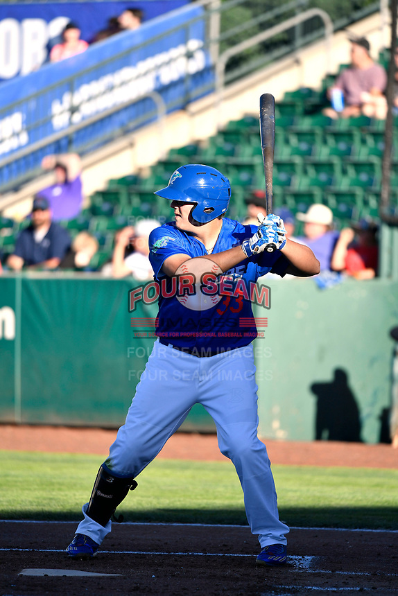 Nick Yarnall (33) of the Ogden Raptors bats against the Orem Owlz in Pioneer League action at Lindquist Field on June 22, 2017 in Ogden, Utah. The Owlz defeated the Raptors 13-8.  (Stephen Smith/Four Seam Images)