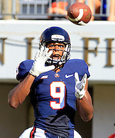 Virginia wide receiver Canaan Severin (9) makes a touchdown catch during the first half of the game Saturday Sept. 6, 2014 at Scott Stadium in Charlottesville, VA. Virginia defeated Richmond 45-13. Photo/Andrew Shurtleff