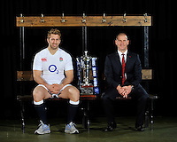 London, England. England captain Chris Robshaw and Stuart Lancaster the England head coach pose with the Six Nations trophy during the RBS Six Nations launch at The Hurlingham Club on January 23, 2013 in London, England.