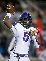 NWA Democrat-Gazette/BEN GOFF @NWABENGOFF<br /> Darius Bowers, Fayetteville quarterback, throws the ball in the second quarter vs Springdale Har-Ber Friday, Nov. 2, 2018, during the game at Wildcat Stadium in Springdale.