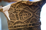 Photo shows a detail of a Jomon-era vase that has been reconstructed by staff at the Sanmaru Museum near Sannai-Maruyama, a large settlement  of the early to middle Jomon era, about 5,500 to 4,000 years ago, in Aomori Prefecture, Japan on 12 July 2011..Photographer: Robert Gilhooly