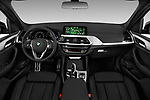 Stock photo of straight dashboard view of a 2018 BMW X3 M Sport 5 Door SUV