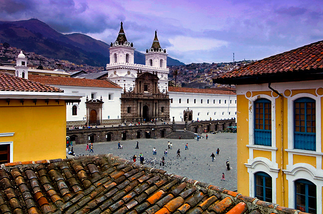 The twin bell towers of the 16th century Monastery of San Francisco rise above the cobblestones Plaza San Francisco.  The monastery is Ecuador's oldest church, and a UNESCO World Heritage Cultural Site.