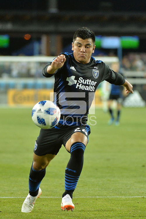 San Jose, CA - Wednesday June 13, 2018: Nick Lima during a Major League Soccer (MLS) match between the San Jose Earthquakes and the New England Revolution at Avaya Stadium.
