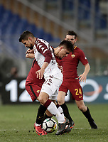 Calcio, Serie A: AS Roma - Torino Roma, stadio Olimpico, 9 marzo, 2018.<br /> Roma's Cengiz Under (l) in action with Torino's Tomas Rincon (r) during the Italian Serie A football match between AS Roma and Torino at Rome's Olympic stadium, 9 marzo, 2018.<br /> UPDATE IMAGES PRESS/Isabella Bonotto