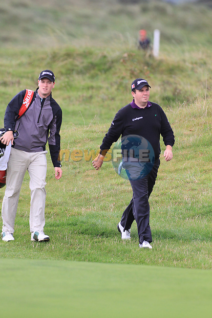 Day one of the Irish PGA championship at Seapoint Golf Club,.Shane Lowry esker Hills Golf Club on the 18th..Picture Fran Caffrey/www.golffile.ie.