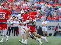 Annapolis, MD - May 20, 2018: Cornell Big Red Jake McCulloch (9) tries to get pass a Maryland Terrapins defender during the quarterfinal game between Maryland vs Cornell at  Navy-Marine Corps Memorial Stadium in Annapolis, MD.   (Photo by Elliott Brown/Media Images International)