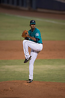 AZL Mariners starting pitcher Feliberto Bonilla (54) delivers a pitch during an Arizona League game against the AZL Royals at Peoria Sports Complex on July 25, 2018 in Peoria, Arizona. The AZL Mariners defeated the AZL Royals 5-3. (Zachary Lucy/Four Seam Images)