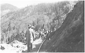 RGS sectionmen clearing another run of the Ames Slide.<br /> RGS  Ames, CO  Taken by Kline, Duane - 6/1930