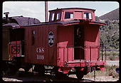 3/4 view of C&amp;S caboose #1009 at Colorado Railroad Museum.<br /> C&amp;S  Golden, CO