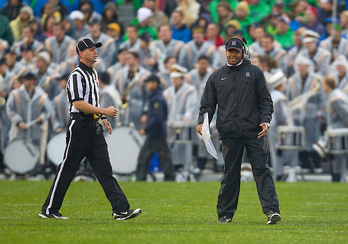 October 13, 2012:  Stanford head coach David Shaw during NCAA Football game action between the Notre Dame Fighting Irish and the Stanford Cardinal at Notre Dame Stadium in South Bend, Indiana.  Notre Dame defeated Stanford 20-13.