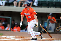 Greenville Astros first baseman Chase McDonald #62 swings at a pitch during a game against the Kingsport Mets at Pioneer Park on August 4, 2013 in Greenville, Tennessee. The Astros won the game 17-1. (Tony Farlow/Four Seam Images)