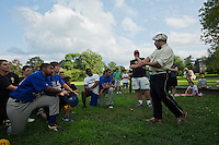 Scott Alberts, president of the Athletic Base Ball Club of Philadelphia, explains the 1864 rules to the players from the Mt. Airy Stars and the Potter Pirates.