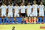 Leipzig, Germany, February 08: Team of Austria receives the silver medal during prize giving ceremony at the FIH Indoor Hockey Men World Cup on February 8, 2015 at the Arena Leipzig in Leipzig, Germany. (Photo by Dirk Markgraf / www.265-images.com) *** Local caption ***
