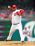 31 March 2011: Washington Nationals starting pitcher Livan Hernandez on the mound on Opening Day against the Atlanta Braves at Nationals Park in Washington, District of Columbia. The Braves shut out the Nationals 2-0 to open the 2011 Major League Baseball season. Mandatory Credit: Ed Wolfstein Photo