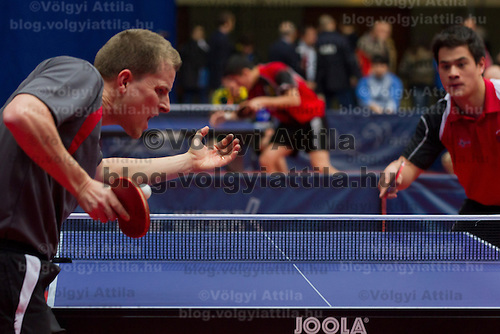 Denmark's Finn Tugwell (L) plays against .Norway's Pal Aaras (R) during the qualifier of the ITTF World Tour Hungarian Open in Budapest, Hungary on January 17, 2012. ATTILA VOLGYI