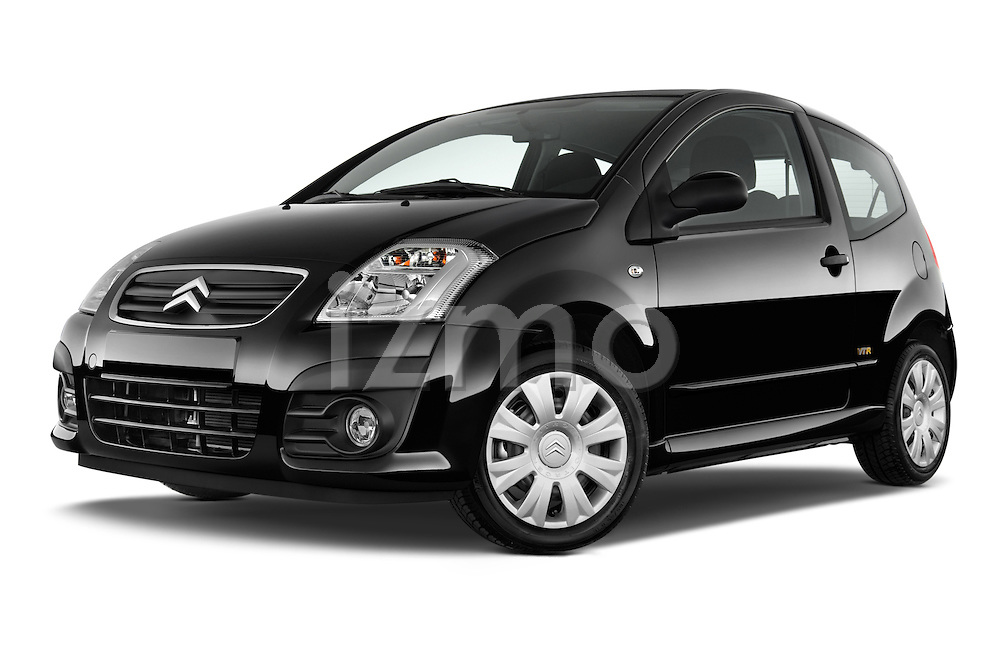 Low aggressive front three quarter view of a 2008 - 2009 Citroen C2 VTR 3 Door Hatchback 2WD