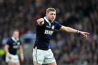 Finn Russell of Scotland shouts out instructions. RBS Six Nations match between England and Scotland on March 14, 2015 at Twickenham Stadium in London, England. Photo by: Patrick Khachfe / Onside Images