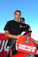 Oct. 16, 2011; Chandler, AZ, USA; NHRA pro stock motorcycle rider Eddie Krawiec during the Arizona Nationals at Firebird International Raceway. Mandatory Credit: Mark J. Rebilas-