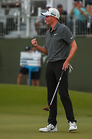 Andrew Wise (USA) gives a big fist bump to celebrate sinking his putt on 18 and winning the AT&T Byron Nelson, Trinity Forest Golf Club, at Dallas, Texas, USA. 5/20/2018.<br /> Picture: Golffile | Ken Murray<br /> <br /> All photo usage must carry mandatory copyright credit (© Golffile | Ken Murray)