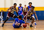 WATERBURY, CT. 09 December 2018-120918 - Sacred Heart players Omar Rowe #40 left, and Caleb Sampson #5 and Crosby's Rahmel Reid #20 all try to get to a loose ball during the annual Waterbury Boys Basketball Jamboree at Kennedy High School in Waterbury on Sunday. Bill Shettle Republican-American