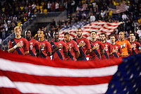 The US starting eleven during the playing of the national anthem. The men's national team of the United States (USA) Ecuador (ECU) during an international friendly at Red Bull Arena in Harrison, NJ, on October 11, 2011.