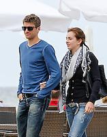 Football: EURO 2012, National Team Germany, Gdansk, 24.06.2012<br /> Thomas Mueller and wife Lisa<br /> &copy; pixathlon