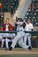 Jake Morton (36) of the Oakland Grizzlies bats during a game against the Southern California Trojans at Dedeaux Field on February 21, 2015 in Los Angeles, California. Southern California defeated Oakland, 11-1. (Larry Goren/Four Seam Images)