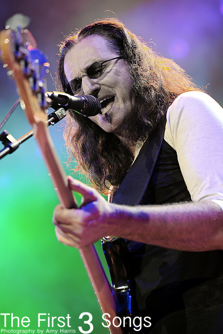"Geddy Lee of Rush performs at the Nationwide Arena in Columbus, Ohio as part of their ""Time Machine Tour"" on Sunday, August 29, 2010."