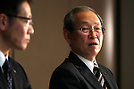 December 27, 2016, Tokyo, Japan - Japan's troubled electronics giant Toshiba president Satoshi Tsunakawa watches the company's CFO Masayoshi Hirata as they annonce the company may post several billion US dollars loss for the fiscal year in connection with Toshiba's subsidiary Westinghouse's nuclear plant business in the U.S. at a press conference at Toshiba headquarters in Tokyo on Tuesday, December 27, 2016.  (Photo by Yoshio Tsunoda/AFLO) LWX -ytd-