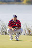 Patrick Reed (Team USA) on the 10th green during Saturday afternoon Fourball at the Ryder Cup, Hazeltine National Golf Club, Chaska, Minnesota, USA.  01/10/2016<br /> Picture: Golffile | Fran Caffrey<br /> <br /> <br /> All photo usage must carry mandatory copyright credit (&copy; Golffile | Fran Caffrey)