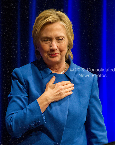 Democratic Presidential candidate Hillary Clinton acknowledges the applause as she arrives to make remarks at the Children's Defense Fund Beat the Odds Celebration at the Newseum in Washington, DC on Wednesday, November 16, 2016.  This is Secretary Clinton's first public appearance since she conceded the election to Donald Trump.<br /> Credit: Ron Sachs / CNP<br /> (RESTRICTION: NO New York or New Jersey Newspapers or newspapers within a 75 mile radius of New York City)