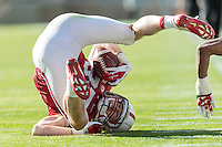 STANFORD, CA- April 13, 2013- The Stanford Cardinal and Whites Spring Game. Jordan Pratt makes a diving catch during the Cardinal and White spring game...isiphotos.com..