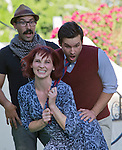 "Left to right:  Marvin Gonzalez, Chase McKenna and Joe Linscott rehearse a scene from ""A Midsummer Night's Dream"" in front of the Lear Theater on Wednesday, June 4, 2014."