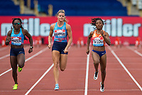 Josee-Marie TA LOU of Ivory Coast wins her heat of the 100m in 10.94 with Morolake AKINOSUN (left) of USA 3rd (11.17) & Dafne SCHIPPERS of NED 4th (11.19) during the Muller Grand Prix Birmingham Athletics at Alexandra Stadium, Birmingham, England on 20 August 2017. Photo by Andy Rowland.