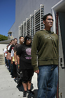 Friday, May 2nd 2008.  Point Loma High School San Diego, CA, USA.  Sean Spratt, Sheyenne Albert, Dennis Sotelo and other members of the Point Loma High School Junior ROTC prepare to enter class after drill practice.