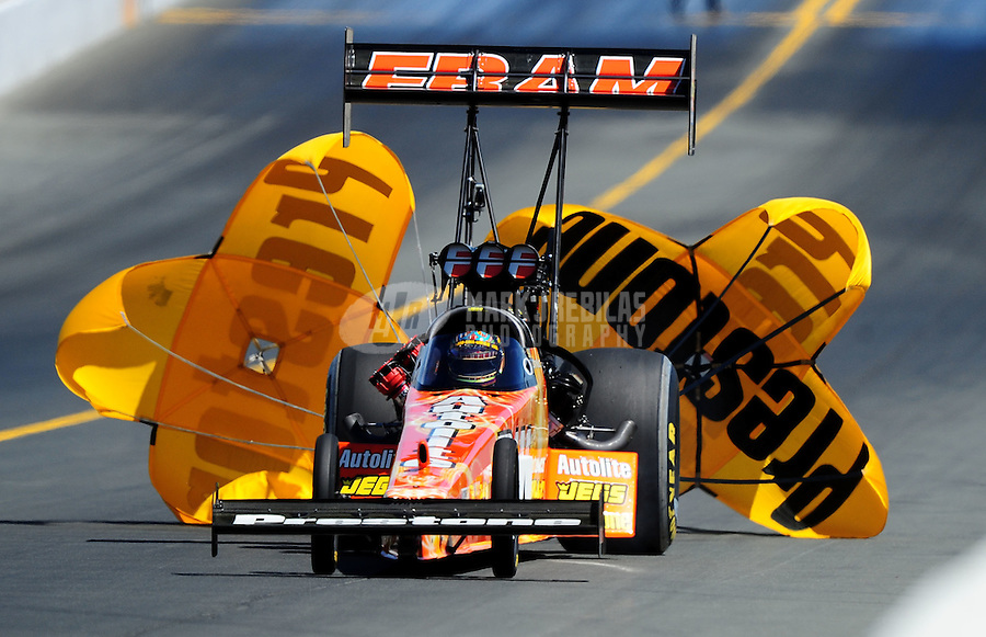 Jul. 18, 2010; Sonoma, CA, USA; NHRA top fuel dragster driver Cory McClenathan during the Fram Autolite Nationals at Infineon Raceway. Mandatory Credit: Mark J. Rebilas-